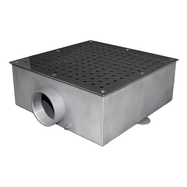 """Донный слив Runvil P4-11, квадратный, Ø 350 × 350 × 150 мм, 40 м³/час, под плитку, подключение Ø 3"""" дюйма (внутренняя резьба)"""