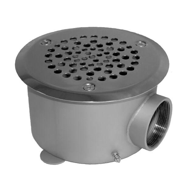 "Донный слив Runvil P4-03, круглый, Ø 160 × 100 мм, 20 м³/час, под плитку, подключение Ø 2"" дюйма (внутренняя резьба)"