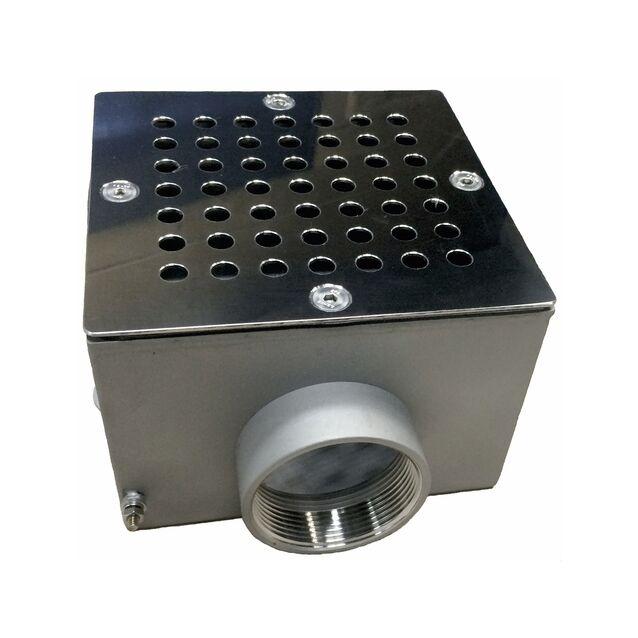 "Донный слив Runvil P4-08, квадратный, Ø 150 × 150 × 100 мм, 20 м³/час, под плёнку, подключение Ø 2"" дюйма (внутренняя резьба)"