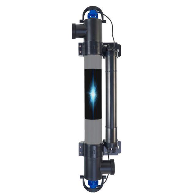 Ультрафиолетовая установка Elecro «H.R. UV-C E-PP-55». Мощность ламп 55 Вт, макс. поток 12 м³/час, подключение Ø 63/50 мм, для бассейнов до 50 м³
