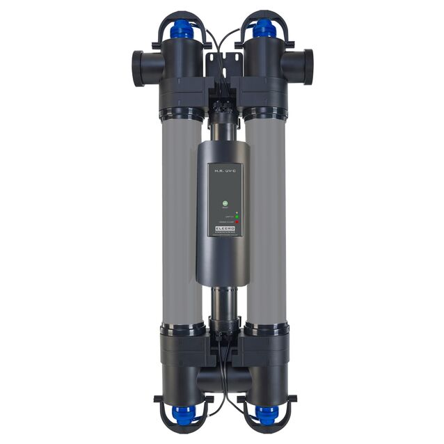 Ультрафиолетовая установка Elecro «H.R. UV-C E-PP2-110». Мощность ламп 110 Вт, макс. поток 24 м³/час, подключение Ø 63/50 мм, для бассейнов до 100 м³