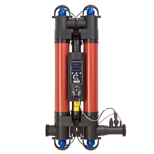 Ультрафиолетовая установка фотокаталитическая Elecro «Quantum QP-130-EU» с дозирующим насосом. Мощность ламп 110 Вт, макс. поток 28 м³/час, подключение Ø 63/50 мм, для бассейнов до 130 м³