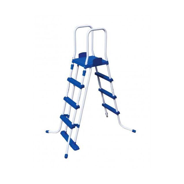 Лестница-стремянка Bestway 58097/FR «Pool Ladder» усиленная. Высота 122 см, три ступени, с площадкой, допустимая нагрузка 150 кг