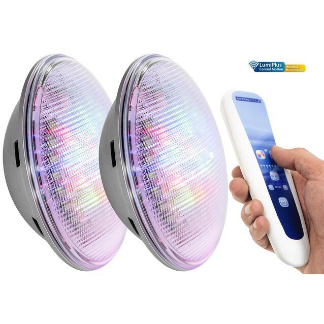 Лампы светодиодные AstralPool 59127 «LumiPlus PAR56 1.11». [RGB Wireless], Ø 170 мм, IPX8, 12 Вольт, 27 Вт, с пультом ДУ, комплект из 2 шт.
