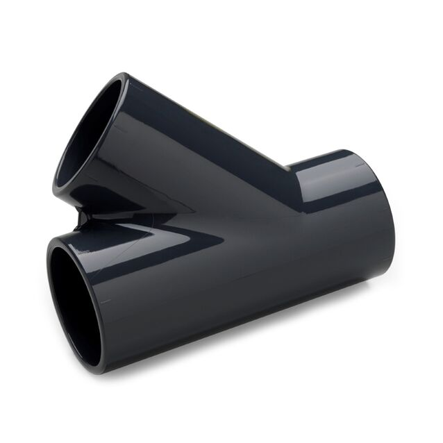 Тройник ПВХ клеевой Plimat, 45°/75 мм, PN16