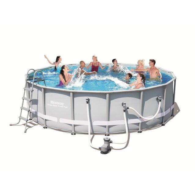 Каркасный бассейн Bestway 56233 «Power Steel», фильтр картриджный, лестница, подстилка, тент, размер 549 × 132 см
