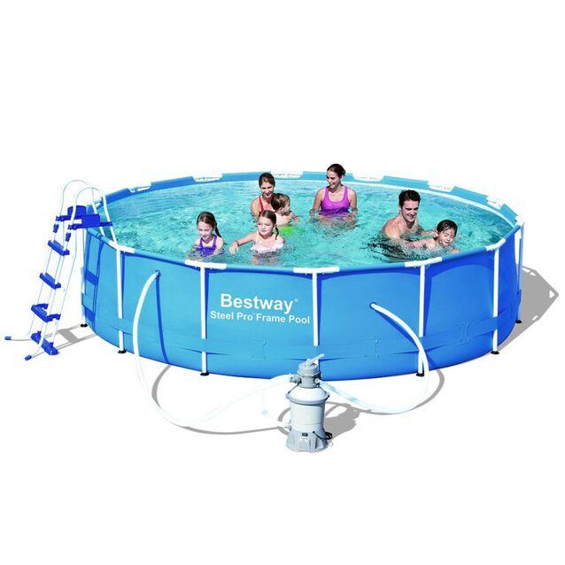 Каркасный бассейн Bestway 56308 «Steel Pro Frame», фильтр песочный, лестница, подстилка, тент, размер 427 × 100 см
