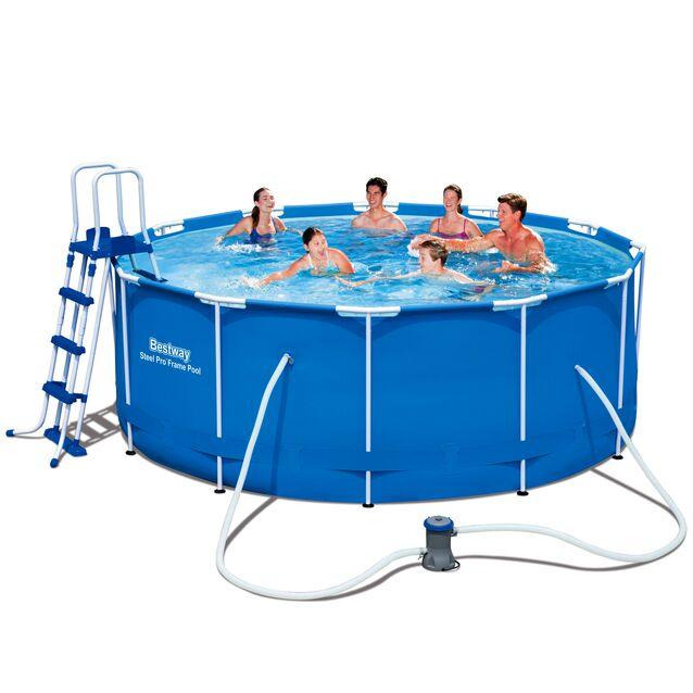 Каркасный бассейн Bestway 56088 «Steel Pro Frame», фильтр картриджный, лестница, подстилка, тент, размер 366 × 122 см
