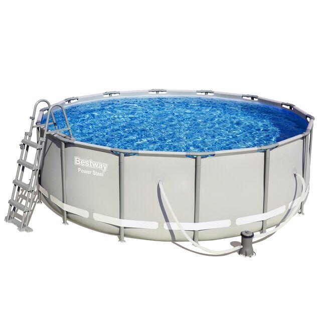 Каркасный бассейн Bestway 56444 «Power Steel», фильтр картриджный, лестница, подстилка, тент, размер 427 × 122 см