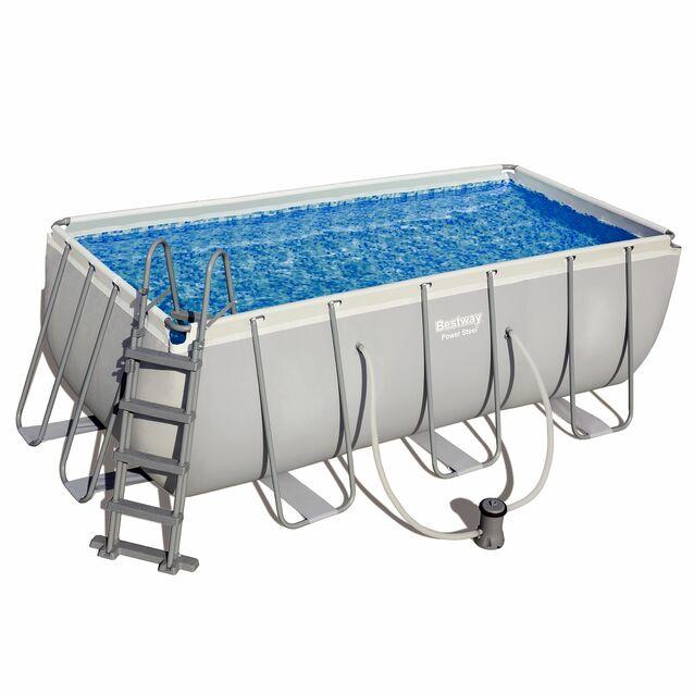 Каркасный бассейн Bestway 56456 «Power Steel», фильтр картриджный, лестница, размер 412 × 201 × 122 см
