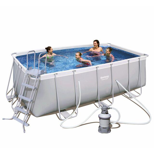 Каркасный бассейн Bestway 56457 «Power Steel», фильтр песочный, лестница, размер 412 × 201 × 122 см
