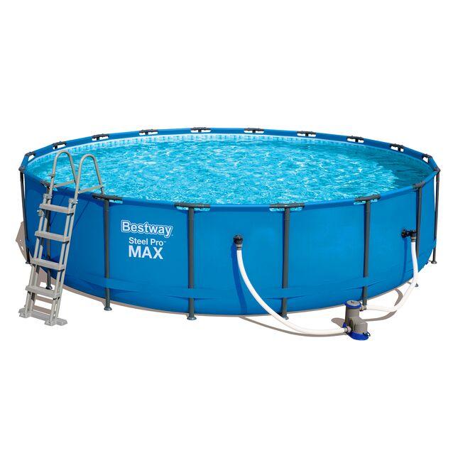 Каркасный бассейн Bestway 56462 «Steel Pro Max», фильтр картриджный, подложка, лестница, тент, размер 549 × 122 см