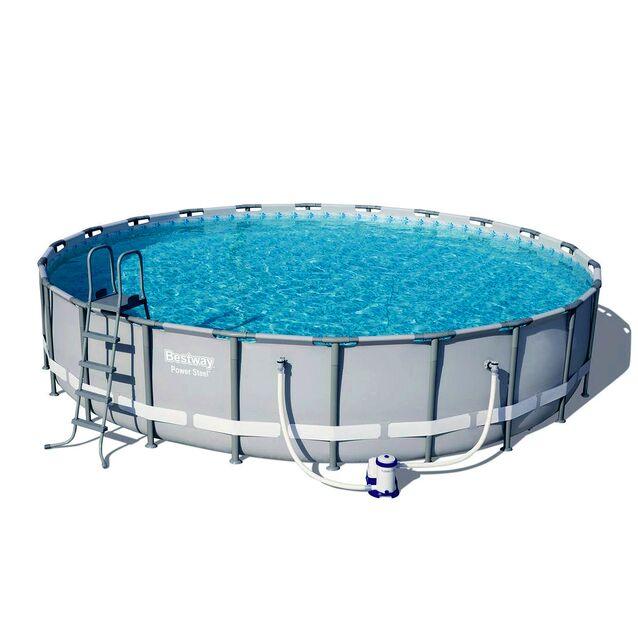 Каркасный бассейн Bestway 56675 «Power Steel», фильтр картриджный, подложка, лестница, тент, размер 610 × 122 см