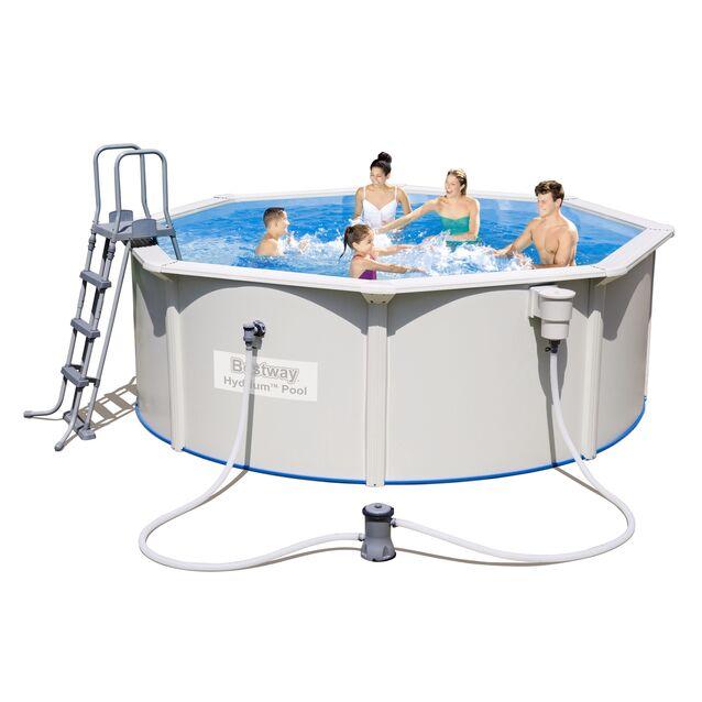 Сборный бассейн Bestway 56571 «Hydrium Poseidon Pool», фильтр картриджный, лестница, подстилка, размер 360 × 120 см