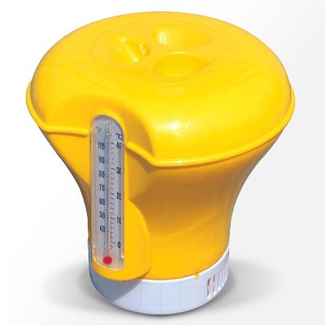 Плавающий дозатор с термометром Bestway 58209, диаметр Ø185мм, жёлтый