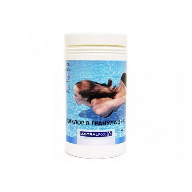 Дихлор 55 % в гранулах, AstralPool 11393, 1 кг. Дезинфекция воды на основе нестабилизированного хлора