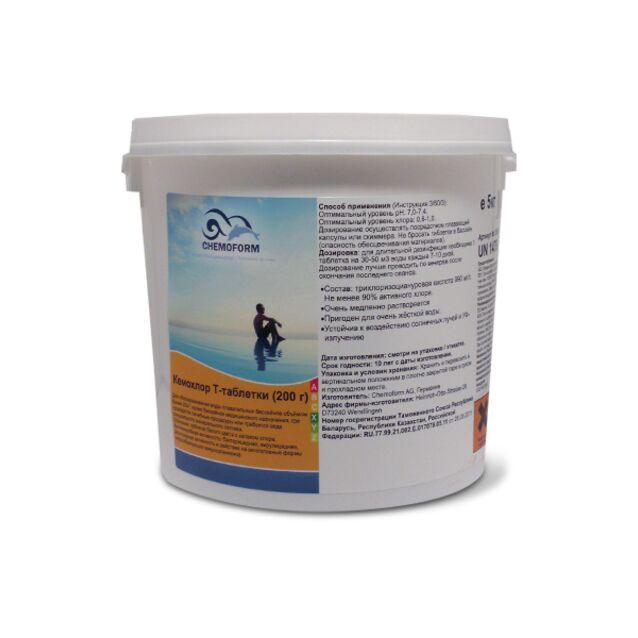 Кемохлор Т-Таблетки 200 г, Chemoform 0505005, 5 кг. Дезинфекция воды на основе стабилизированного хлора