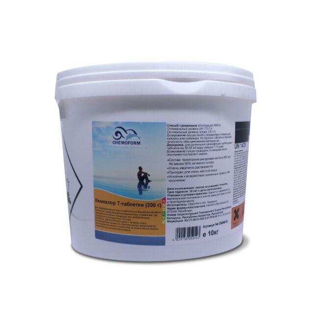 Кемохлор Т-Таблетки 200 г, Chemoform 0505010, 10 кг. Дезинфекция воды на основе стабилизированного хлора