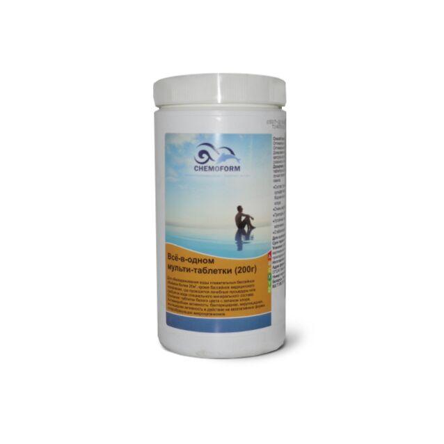 Всё-в-одном Мультитаблетки 200 г, Chemoform 0507001, 1 кг. Средство для длительной дезинфекции, флокуляции и уничтожения водорослей
