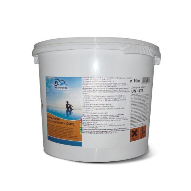 Всё-в-одном Мультитаблетки 200 г, Chemoform 0507010, 10 кг. Средство для длительной дезинфекции, флокуляции и уничтожения водорослей