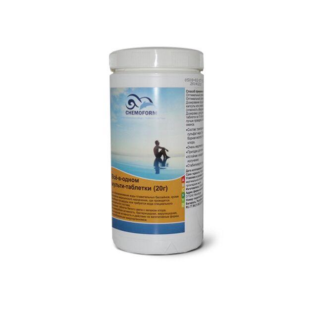 Всё-в-одном Мультитаблетки 20 г, Chemoform 0508001, 1 кг. Средство для длительной дезинфекции, флокуляции и уничтожения водорослей