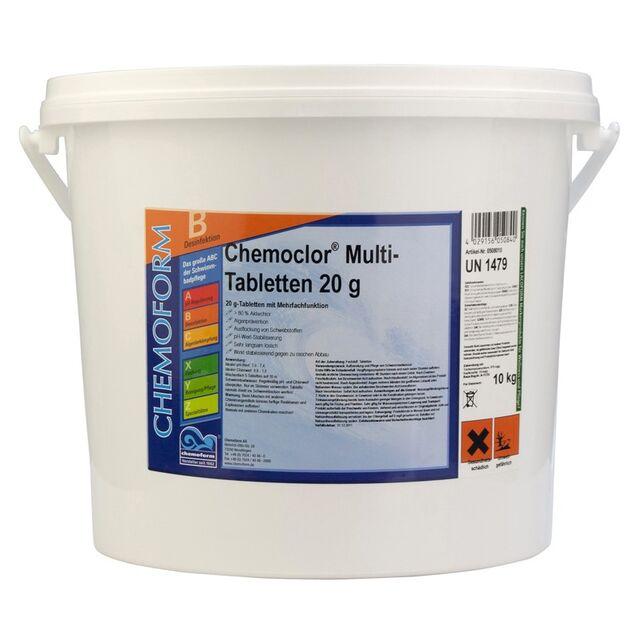 Всё-в-одном Мультитаблетки 20 г, Chemoform 0508010, 10 кг. Средство для длительной дезинфекции, флокуляции и уничтожения водорослей