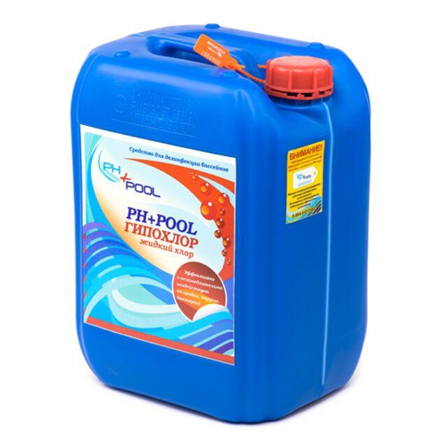 Гипохлор жидкий, PH+Pool 310023, 30 л / 34 кг. Дезинфекция воды на основе стабилизированного хлора