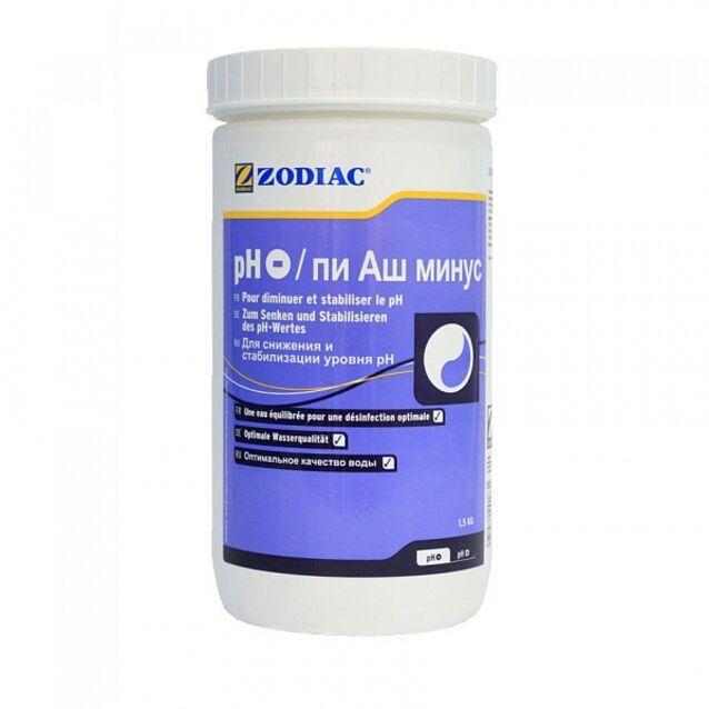 pH-минус в гранулах, Zodiac W400183, 1.5 кг. Средство для понижения уровня pH воды