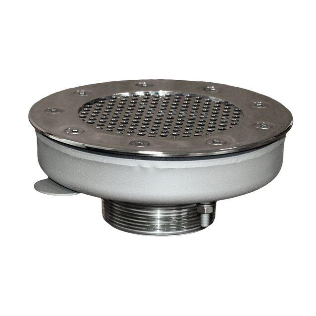 """Водозабор Runvil P5-08 с сетчатой крышкой, Ø 160 мм, 30 м³/час, универсальный, подключение Ø 2.5"""" дюйма (наружная резьба)"""