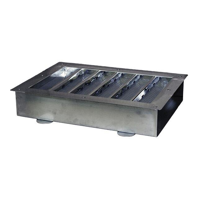 """Водозабор Runvil P5-20 прямоугольный, 550 × 400мм, 90 м³/час, под плитку, подключение Ø 2.5"""" дюйма (наружная резьба), закладная + лицевая панель"""