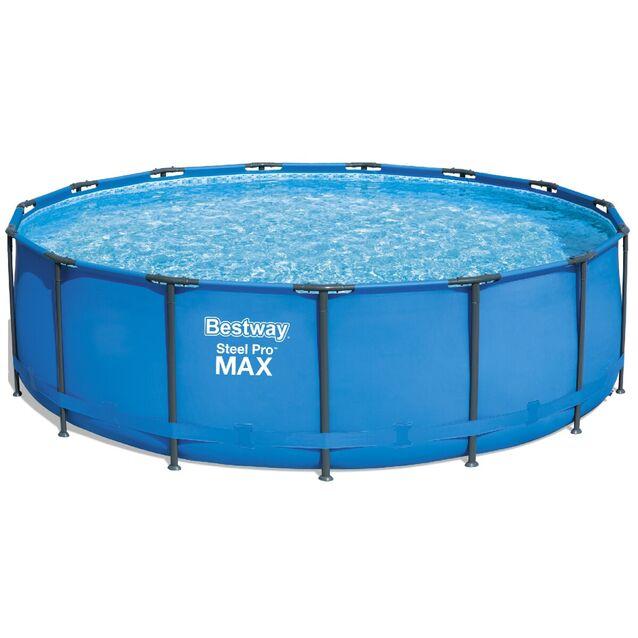 Каркасный бассейн Bestway 56438 «Steel Pro MAX», фильтр картриджный, лестница, подстилка, тент, размер 457 × 122 см
