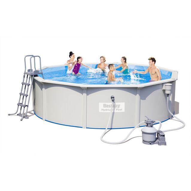 Сборный бассейн Bestway 56384 «Hydrium Pool Set», фильтр песочный, лестница, подстилка, размер 460 × 120 см