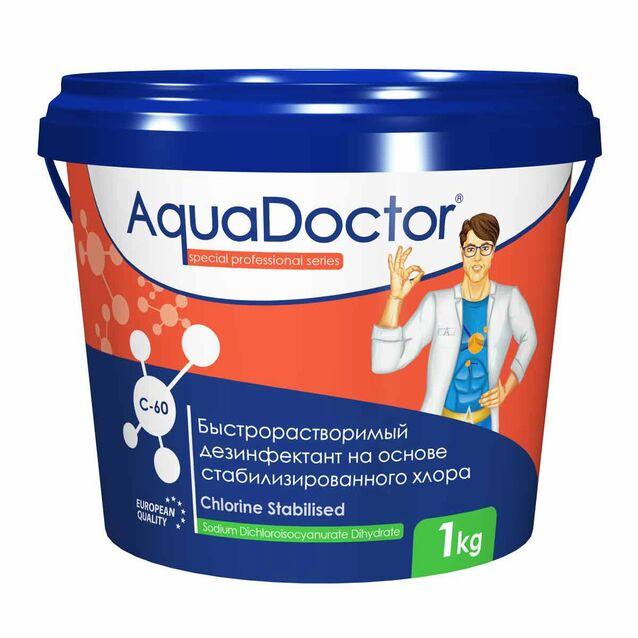 Хлор быстрого действия в гранулах, AquaDoctor C-60, 1 кг, дезинфекция воды на основе стабилизированного хлора