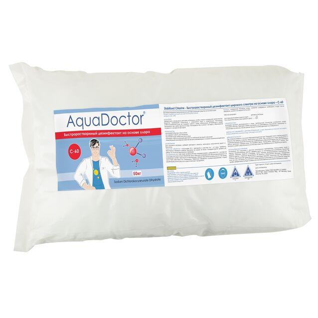 Хлор быстрого действия в гранулах, AquaDoctor C-60, 50 кг, дезинфекция воды на основе стабилизированного хлора