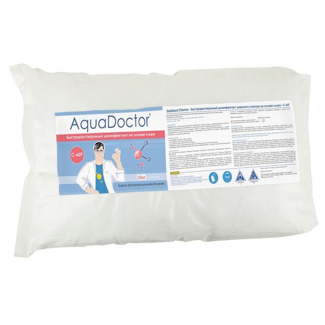 Хлор быстрого действия в таблетках 20 г, AquaDoctor C-60T, 50 кг, дезинфекция воды на основе стабилизированного хлора