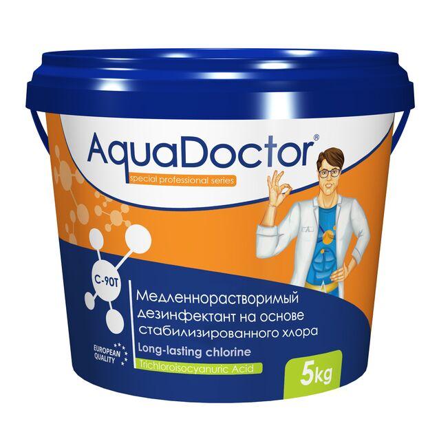 Хлор длительного действия в таблетках 200 г, AquaDoctor C-90T, 5 кг, дезинфекция воды на основе стабилизированного хлора
