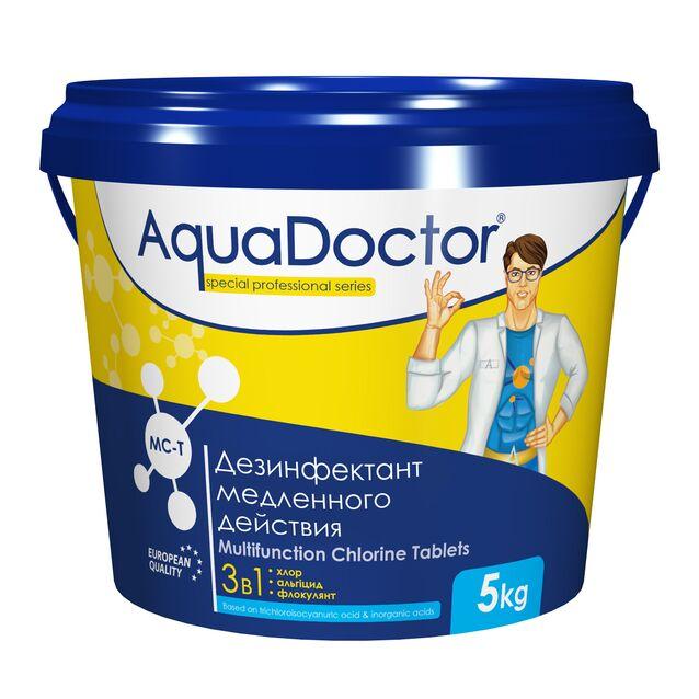 Всё-в-одном Мультитаблетки 200 г, AquaDoctor MC-T, 5 кг, средство для длительной дезинфекции, флокуляции и уничтожения водорослей